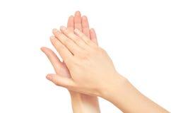 Bello gesto femminile di applauso della mano Isolato su priorità bassa bianca Fotografia Stock Libera da Diritti