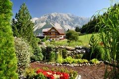 Bello giardino nel dachstein Austria di ramsau con i mauntains nella parte posteriore fotografie stock