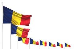 Bello giorno dell'illustrazione della bandiera 3d - molte bandiere della Romania hanno disposto la diagonale isolata su bianco co royalty illustrazione gratis
