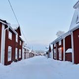 Bello giorno di dicembre nella città della chiesa di Gammelstad Immagini Stock