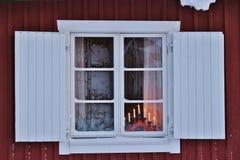 Bello giorno di dicembre nella città della chiesa di Gammelstad Fotografia Stock