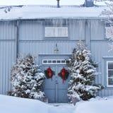 Bello giorno di dicembre nella città della chiesa di Gammelstad Fotografie Stock