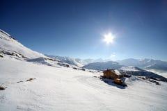 Bello giorno pieno di sole in alpi francesi Fotografie Stock Libere da Diritti