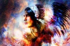 Bello giovane guerriero indiano nello spazio cosmico collage della pittura illustrazione vettoriale