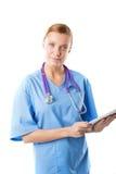 Bello giovane interno medico femminile con il computer della compressa Fotografia Stock Libera da Diritti