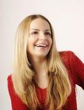 Bello giovane sorridere biondo della donna Fotografie Stock