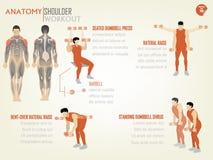 Bello grafico di informazioni di progettazione dell'allenamento della spalla Fotografia Stock Libera da Diritti