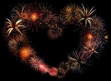 Bello grande cuore del fuoco d'artificio Immagini Stock