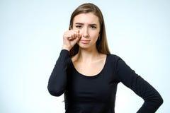 Bello gridare triste della donna Fotografie Stock