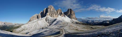 Bello gruppo della montagna della dolomia nel gruppo del sud/verso sud sassolungo/del Tirolo il Tirolo Immagini Stock
