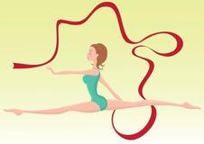 Bello gymnast che effettua con il nastro Immagini Stock Libere da Diritti