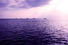 Bello indicatore luminoso sul mare Fotografia Stock Libera da Diritti