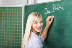 Bello insegnante biondo femminile Fotografie Stock