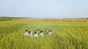 Bello insegnante tailandese in studente d'istruzione uniforme per imparare le cose naturali fotografia stock libera da diritti
