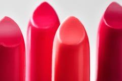 Bello insieme dei rossetti nei colori rossi Collec del cosmetico di bellezza Fotografie Stock Libere da Diritti