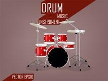 Bello insieme realistico del tamburo, concetto di progettazione di vettore dello strumento di musica Fotografia Stock