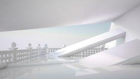Bello interno bianco con stanza e lo studio Fotografia Stock Libera da Diritti