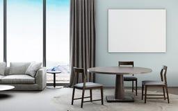 Bello interno del salone con il manifesto del modello incontemporary illustrazione vettoriale