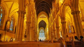 Bello interno della cattedrale di St Mary a Sydney Immagini Stock Libere da Diritti