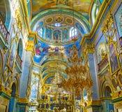Bello interno della cattedrale santa di Dormition Fotografie Stock