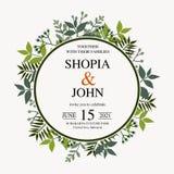 Bello invito di cerimonia nuziale Vettore naturale, modello botanico e elegante Stile floreale dell'acquerello di nozze, invito,  illustrazione vettoriale