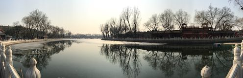 Bello lago al houhai Immagine Stock Libera da Diritti