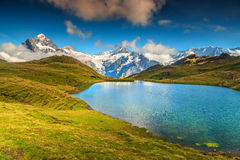 Bello lago alpino Bachalpsee, Grindelwald, Svizzera, Europa Immagine Stock