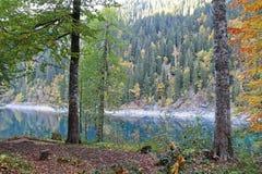 Bello lago circondato dalle montagne e dalle foreste in autunno Malaya Ritsa, Abkhazia fotografia stock libera da diritti