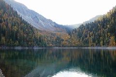 Bello lago circondato dalle montagne e dalle foreste in autunno Malaya Ritsa, Abkhazia immagini stock libere da diritti