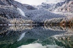 Bello lago della montagna nelle alpi Immagini Stock Libere da Diritti