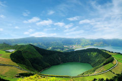 Bello lago di Sete Cidades, Azzorre, Portogallo Europa Immagini Stock Libere da Diritti