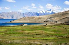 Bello lago Moriri di inTso del paesaggio della montagna, Ladakh, il Jammu e Kashmir Fotografie Stock Libere da Diritti