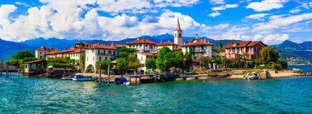 Bello Lago romantico Maggiore, dei Pescatori di isola Fotografie Stock