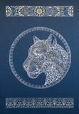 Bello leopardo delle nevi del dotwork, pantera, gatto, con l'ornamento Fotografia Stock Libera da Diritti