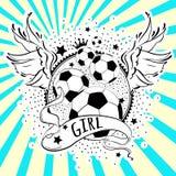 Bello logo alto-dettagliato di calcio di stile Girly Vector i colori dell'illustrazione in bianco e nero sul fondo del raggio del illustrazione vettoriale