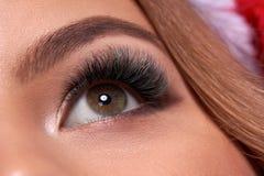 Bello macro colpo dell'occhio femminile con i cigli lunghi estremi ed il trucco nero della fodera Trucco perfetto di forma e sfer fotografia stock