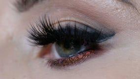 Bello macro colpo dell'occhio femminile con i cigli lunghi estremi Volto perfetto, trucco e sferze lunghe stock footage