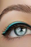 Bello macro colpo dell'occhio femminile con trucco Forma perfetta delle sopracciglia, eye-liner blu Estetiche e trucco Fotografia Stock Libera da Diritti
