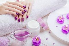 Bello manicure porpora con gli elementi essenziali della stazione termale immagine stock