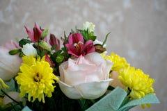 Bello mazzo con le rose rosa, i crisantemi gialli ed il alstroemeria porpora Mazzo tenero della molla Fotografie Stock Libere da Diritti