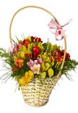 Bello mazzo della merce nel carrello luminosa dei fiori Fotografie Stock