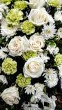 Bello mazzo floreale, rose bianche e garofani fotografia stock