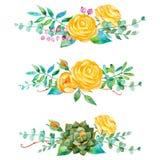 bello mazzo 3 per la vostra progettazione con le rose, le foglie, le bacche e le piante dei succulenti Immagine Stock