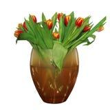 Bello mazzo rosso e giallo dei tulipani Immagini Stock
