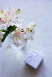 Bello mazzo tenero di Alstroemeria con il contenitore di regalo bianco Immagini Stock