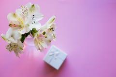 Bello mazzo tenero di Alstroemeria con il contenitore di regalo bianco Fotografie Stock Libere da Diritti