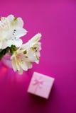 Bello mazzo tenero di Alstroemeria con il contenitore di regalo rosa Immagini Stock Libere da Diritti