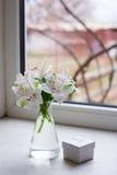 Bello mazzo tenero di Alstroemeria con il contenitore di regalo vicino a vento Fotografia Stock Libera da Diritti