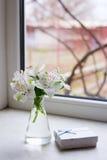 Bello mazzo tenero di Alstroemeria con il nea bianco del contenitore di regalo Fotografia Stock Libera da Diritti