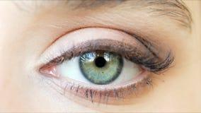 Bello metraggio del primo piano dell'occhio femminile con trucco classico dell'eye-liner video d archivio